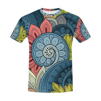 Seamless Floral Pattern Paisley Garden Style All Over Print T-Shirt for Men (USA Size) (Model T40)