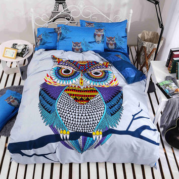 4/3pcs cotton bedding kids owl's boys/girls owl bedding set