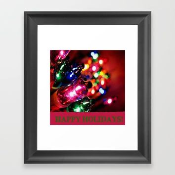 HAPPY HOLIDAYS Framed Art Print by Jessica Ivy