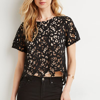 Floral Embroidered Crochet Top