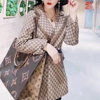 """Gucci"" Woman Casual Wild Fashion  Personality Printing Spell color Long Sleeve T-Shirt Suit Tops"