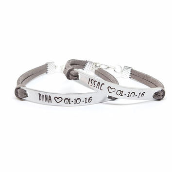 Customized Couples Bracelet | His and Her Name Bracelet | Hand Stamped Anniversary Date Bracelet | Matching Couples Jewelry | Relationship