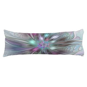 Colorful Fantasy Abstract Modern Fractal Flower Body Pillow