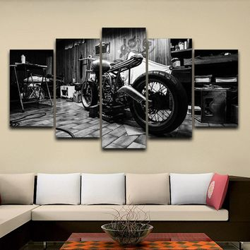 Living Room HD Printed Modular Canvas Posters 5 Panels Vintage Motorcycle Framework Wall Art Painting Home Decoration Pictures