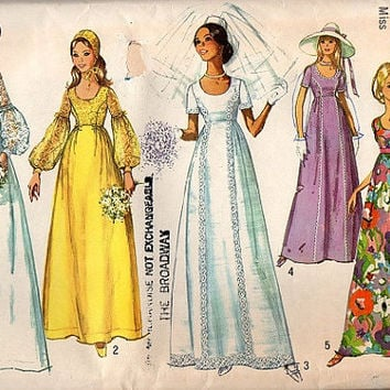 Simplicity Sewing Pattern 1970s Wedding Gown Bride Bridesmaid Dress Fitted Bodice Blouson Puff Sleeves Bust 32 Uncut