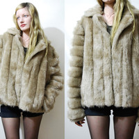70s Vintage FAUX FUR Jacket Striped Light Tan Beige Fawn Cropped Fluffy Shaggy Mod Glam Bohemian Coat 1970s vtg L
