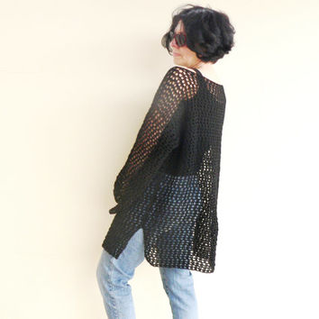 Spring Trend Plus Size Women Hand Crochet Pullover Lace Elegant Sweater Top Cape Wraps Black Loose Neckline Alpaca Gift For MOM For Her