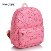 Stylish Pink Casual Korean Fashion Travel Canvas Backpack = 4887789060