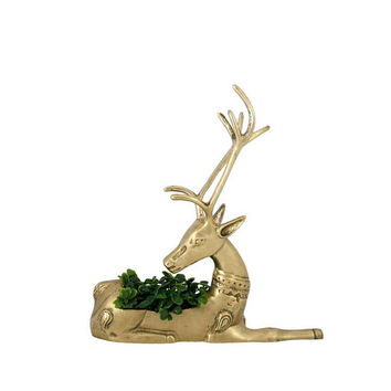 Brass Reindeer Planter Vintage Table Centerpiece Holiday Decor Christmas Gold Large Animal Figurine Bookend Deer Buck Stag Caribou Mantel