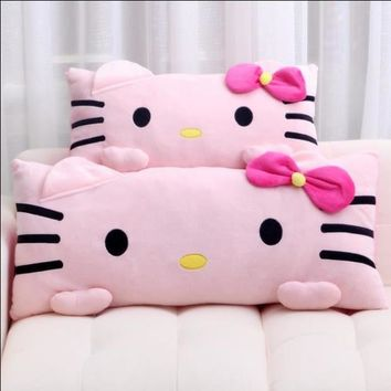 1pc 35* 85cm Super soft Cute Pink Hello Kitty Plush Pillow Nap Cushion Stuffed Soft Gift For Girl Home Pillow
