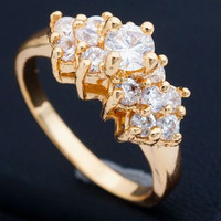 Beautiful Engagement 18K GP Clear CZ Ring