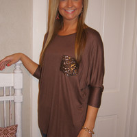 Slightly Flashy Pocket Top (Mocha) PREORDER