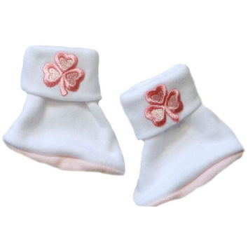 Baby Girls' Precious Pink Shamrock Irish Booties