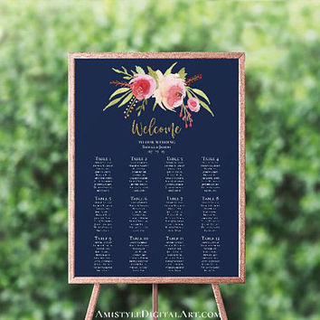 Navy Blue Personalized Seating Chart, Seating Template, Printable Seating Plan, Reception Seating Chart Poster,Customized Wedding Table Plan