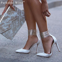 Sexy Pumps with Multi Silver Ankle Straps Choose White or Black