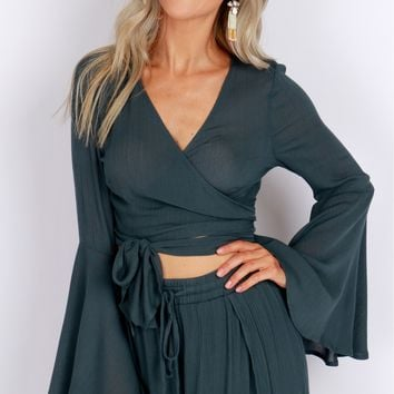 Tie Long Sleeve Crop Top Forest Green