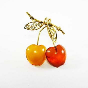 Genuine Amber Cherry Brooch w/ Transparent and Opaque Gold tone Amber and Gold Filled Leaves, Signed Amber Guild 12K G.F. Pin, Vintage 1950s