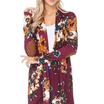 Floral Cardigan W/ Elbow Patches