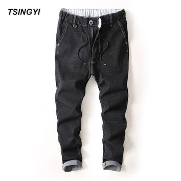 Tsingyi Do Old Style Men Elastic Straight Jeans Homme Designer Denim Harajuku Full Length Jogger Men Pants Plus Size 28-38