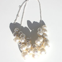 Big Faux Pearl Bubble Statement Necklace Handmade for her for mum