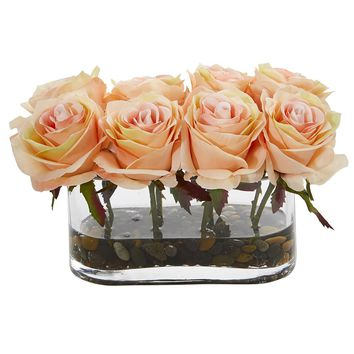 Silk Flowers -5.5 Inch Blooming White Roses In Glass Vase Artificial Plant