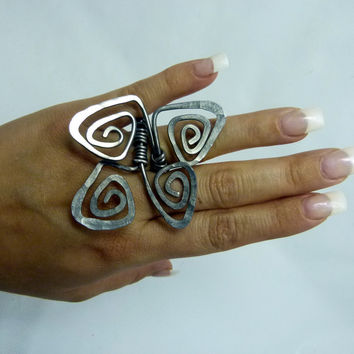 distorted wire wrapped ring , modern swirls , abstract ring , adjustable design , art jewelry , large ring , big ring , long ring, wire ring