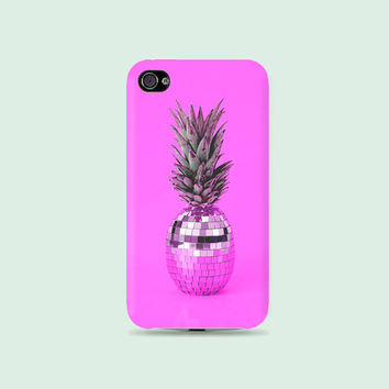 Hot Pink Disco Pineapple Plastic Hard Case - iphone 5 - iphone 4 - iphone 4s - Samsung S3 - Samsung S4 - Samsung Note 2