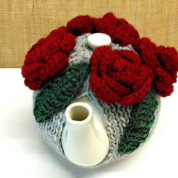 Tea cosy, Valentine Rose, Roses, Red Rose, Crochet Flowers,  Valentines Gift Birthday Gift Tea Party Gift Mother's Day Ready to ship from UK