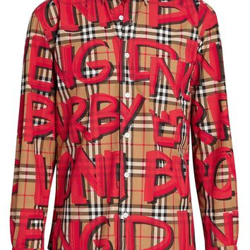 Red Graffiti Signature Button-Up by Burberry