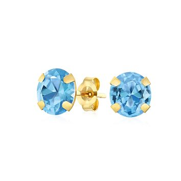 1.4CT Round Gemstone Blue Topaz Stud Earrings Real 14K Yellow Gold s