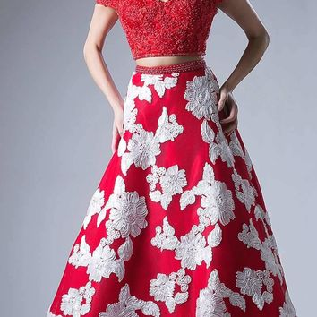 d994dd95a4f Two Piece Off The Shoulder Long Gown Red Print Lace Top