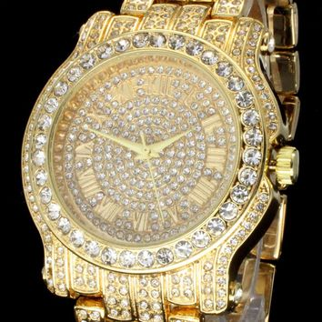 Mens 14k Gold Tone Iced out Simulated Diamond Hip Hop Rapper Techno Pave Watch