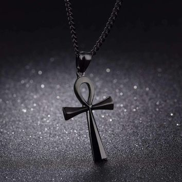 "Meaning ""Life"" Egyptian Ankh Pendants Necklace in Stainless Steel Hieroglyph Jewelry with 22''"