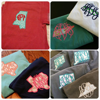State Monogram Tshirts in Comfort Color