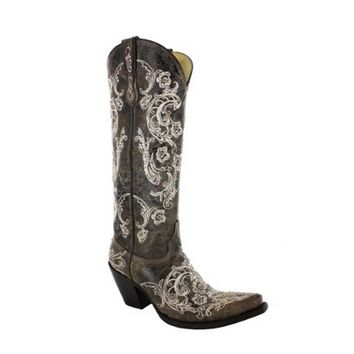 Corral Brown & White Full Stitch Western Boots G1027