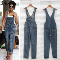 Korean Women Jumpsuit Denim Overalls 2017 Spring Casual Baggy Jeans Full Length Pinafore Dungaree Romper Women JumpsuitPlus Size