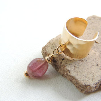 Pink Tourmaline Ear Cuff, Gemstone Dangle Ear Cuff, Tourmaline Jewelry, Brass Ear Cuffs, Cartilage Earring, Non-Pierced Earring. 207