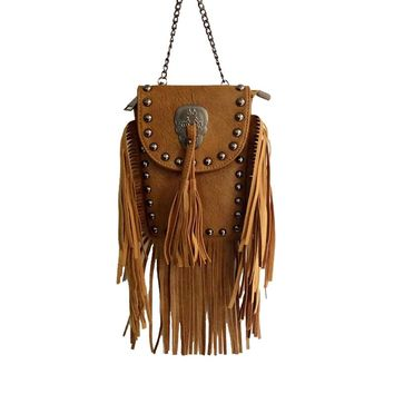 NEW Bohemian style women chain PU Leather handbag vintage Skull messenger bag lady tassel fringe shoulder bags Bolsa Feminina