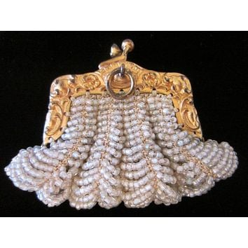 Bostonia Coin Purse Pendant Marked Ger Silver Micro Beaded Gold Plated