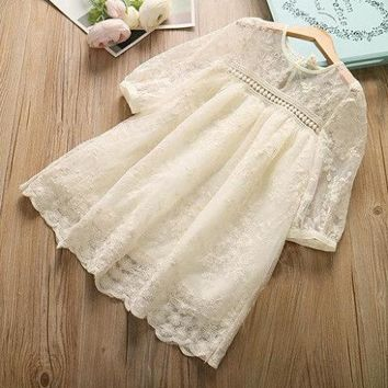 Vintage Lace Cream Empire Dress