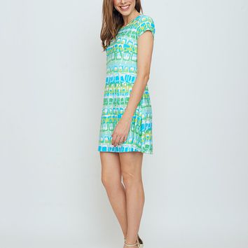 Ibiza T-Shirt Dress in Blue Loops