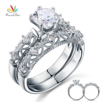 Peacock Star Vintage Style Victorian Art Deco 1.25 Ct Solid Sterling 925 Silver 2-Pc Wedding Ring Set CFR8103
