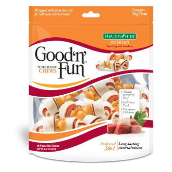 Healthy Hide Good N Fun Triple Flavor Mini Bones 18 ct