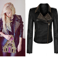 Womens Vintage Punk Rock&Roll Spike Studded Shoulder PU Leather Jacket SZ 2 4 6