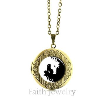 Horse Necklace Yin Yang Jewelry Black and White Pendant
