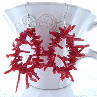 Red coral earrings, dangle coral earrings, coral branch jewelry, Torre del Greco, sterling silver 925, italian coral jewelry, summer jewels