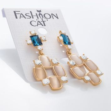 Lab Created Opal & Austrian Crystal Dangle Stud Earrings in Gold Plated