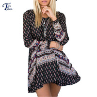 Black Long Sleeve Round Neck New Printing Women Loose Short Dresses 2016 Casual Hot Sale Summer Shift Mini Dress