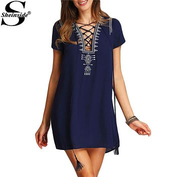 Sheinside Vintage Boho Lace Up Print Front Dresses 2016 New Casual Summer Style Women Short Sleeve Royal Blue Shift Dress