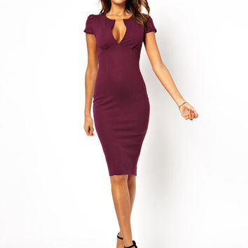 V-Neck Zipper Back Bodycon Dress
